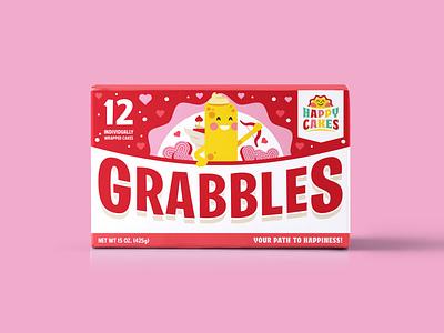 Grabbles V-DAY Snack Cakes packaging illustrator design type illustration