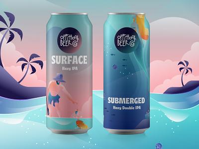 Offshoot Seasonal IPA ocean sea illustrator label prodcut ipa beer branding beer label