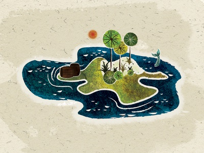 Island WIP illustration island mermaid trees rum barrel sun