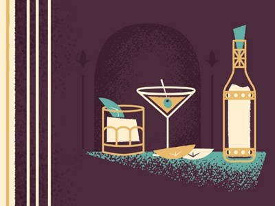 Drink Spot Illustrations drinks illustration gold style spot illo whiskey orange lime olive martini bar