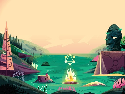 Camp Lambda forest mountain wilderness design illustration
