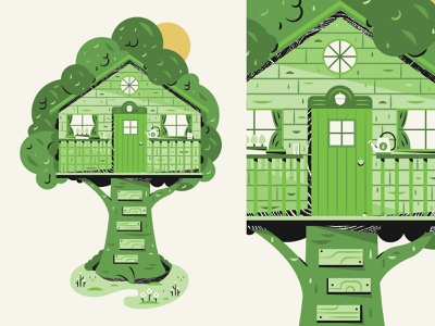 Our Brand Treehouse paint watering can phone plant treehouse design illustration