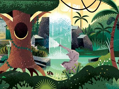 Elephant Pool jungle elephant cruise pool illustrator disney illustration