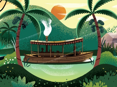 Danger Awaits disney explore boat jungle illustration illustrator