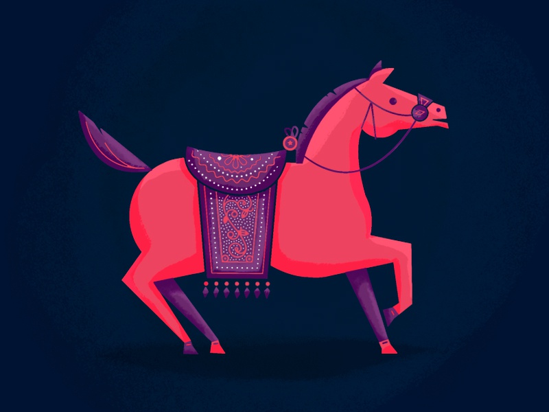 Horse Study horse illustration painting character purple pink