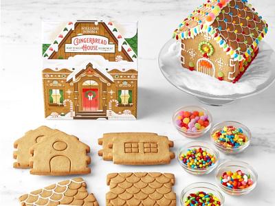 Gingerbread House Kit santa illustration christmas