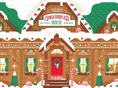 Williams Sonoma Gingerbread House Kit santa snow house christmas illustration