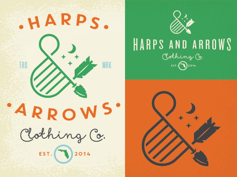 Harps & Arrows logo arrow bow harp clothing lockup mark badge