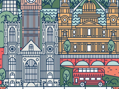 London Line Art river bus tower bridge london eye europe illustration london