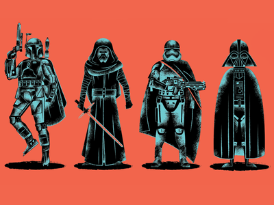 Star Wars Prints darth vader captain phasma boba fett star wars