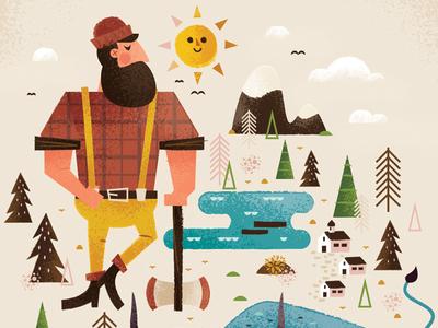 Paul Bunyan  lumberjack sun axe ox art illustration paul paulbunyan