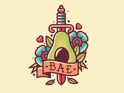 Avocado Is Bae sword dagger tats flowers bae tattoo avocado illustration