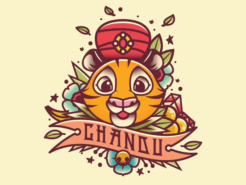 Chandu  chandu sword dagger tats flowers bae tattoo tiger illustration