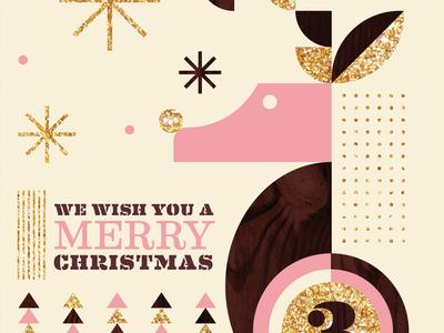 Christmas Card deer ornament globe stamp love giving holiday christmas
