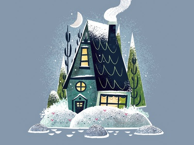 Snowy Cottage illustrator house cottage christmas snow