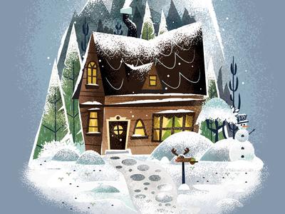Snowy Cottage Pt 2 illustrator house cottage christmas snow