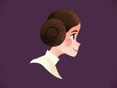 Princess Leia carrie fisher princess leia kylo ren atst darth vader painting design illustration boop beep r2-d2 starwars