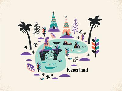 Neverland waltdisneyworld retro design illustration disney