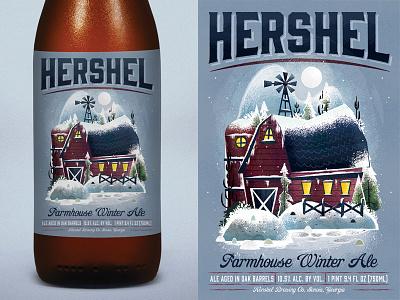 Hershel Farmhouse Winter Ale  barn illustrator beer hershel farm