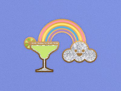 Follow The Rainbow cloud rainbow glitter enamel pin lapel illustration margarita