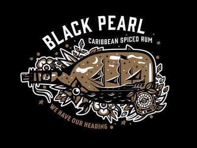 YO HO compass jack sparrow black pearl tortuga pirate illustration