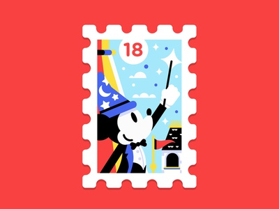 Main St. Post Office Stamp Collection 6|16 sorcerer mickey mouse mickey magic kingdom castle disney usps stamp