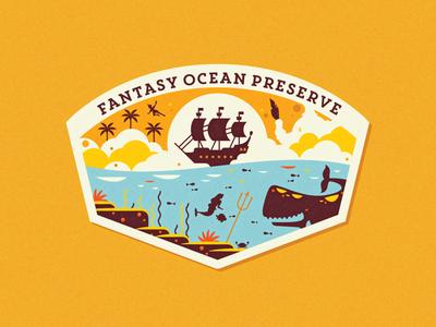 Fantasy Ocean Preserve jolly roger pirate ship triton whale monstro dumbo peter pan flounder mermaid ocean patch