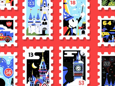 Main St. Post Office Stamp Collection usps stamp disney castle stamps