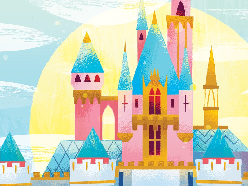 Sleeping Beauty Castle sun design illustration california disney castle