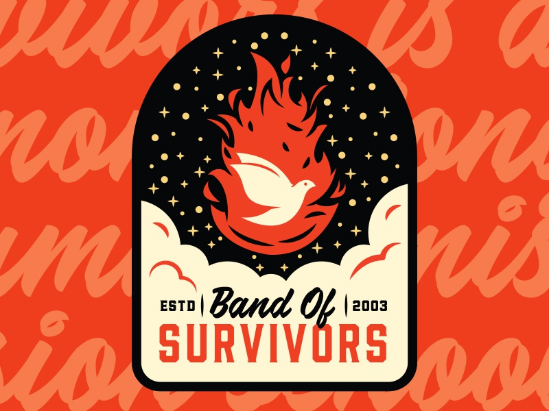 Band Of Survivors Patch lockup fire dove branding logo