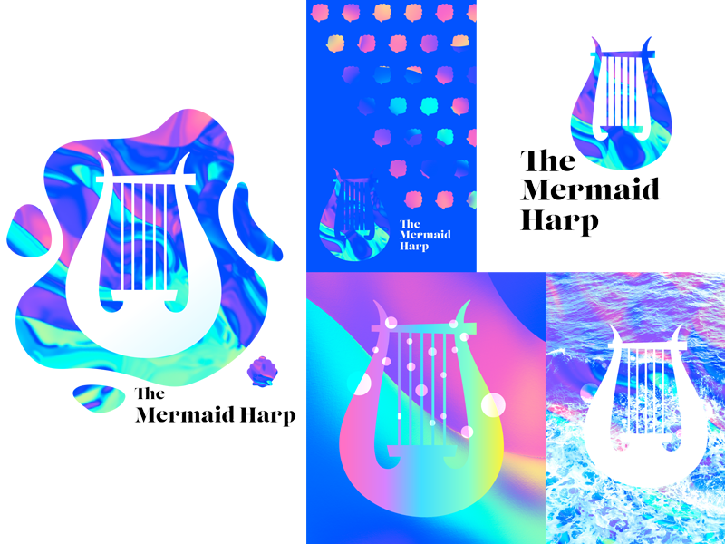 The Mermaid Harp harp mermaid logo brand