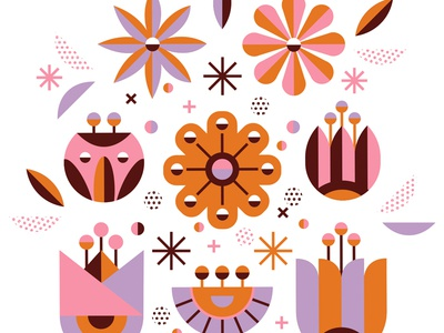 Deco Bouquet brown purple orange pink modern gift flower flowers illustration