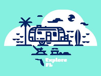 Explore FL ocean surf beach airstream florida