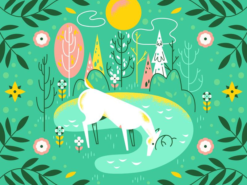 Oh Deer spring deer pink modern gift flower flowers illustration