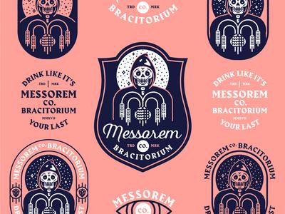 Messorem Co Bracitorium branding moon reaper skull logo brewery beer