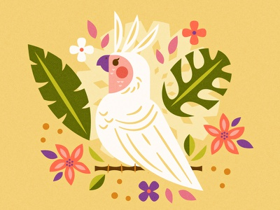 Tropical Cockatoo tiki polynesian parrot cockatoo pineapple