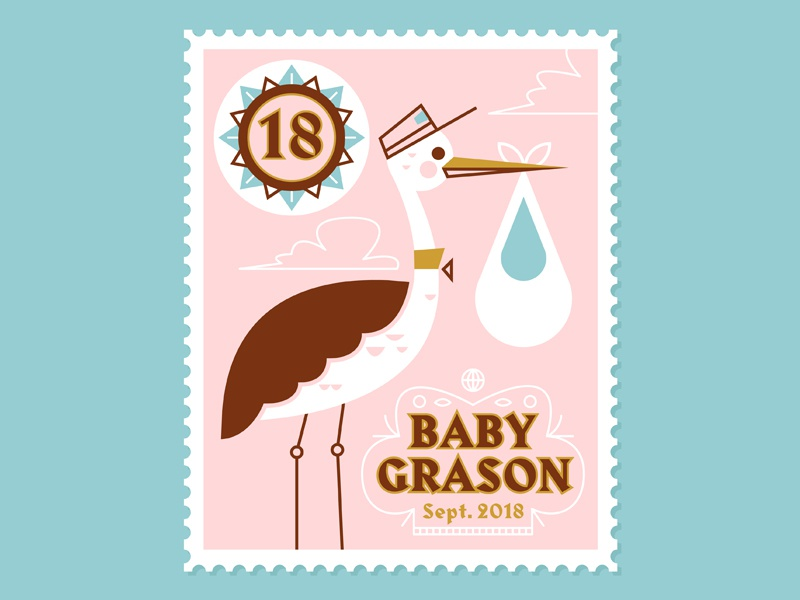 Baby Grason illustration stork baby