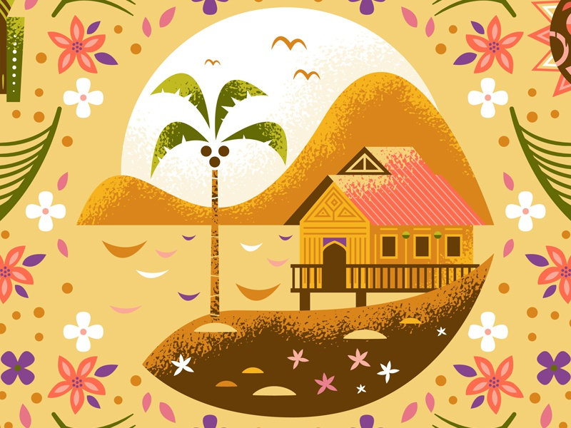 Tropical Serenade water palm tiki parrot polynesian