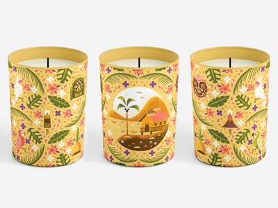 Tropical Serenade Candle parrot sunrise mask polynesian tiki poly candle