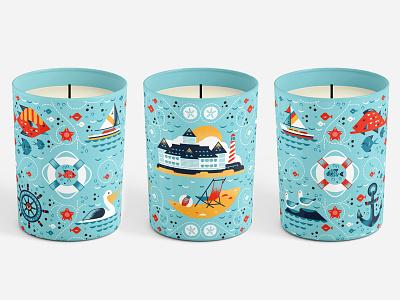 Yacht & Beach Candle fish breeze ocean gull sea boat pelican beach candle