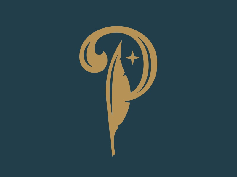 Feather branding p peter pan feather logo