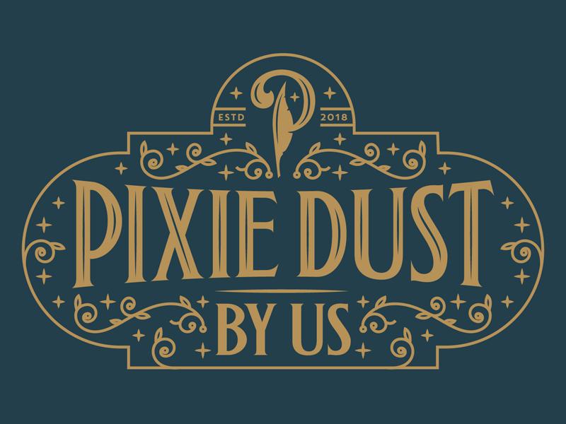 Pixie Dust branding p peter pan feather logo