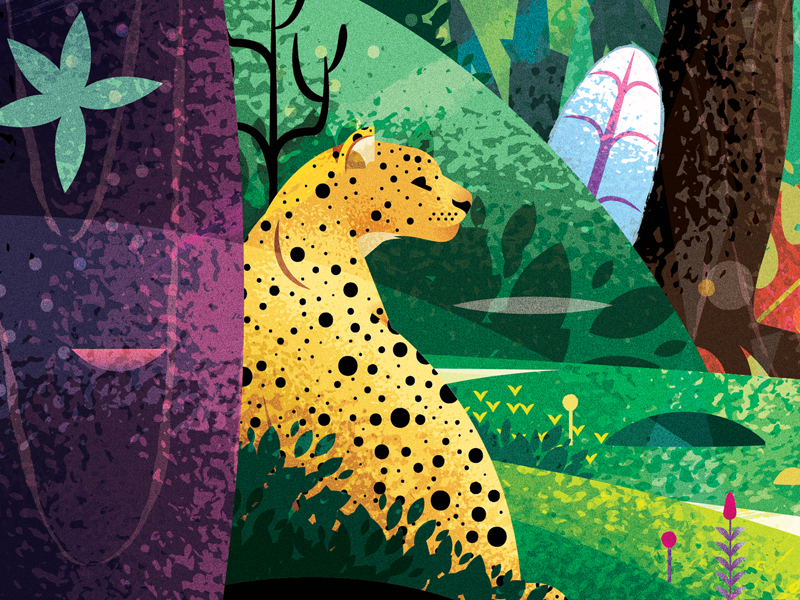 Welcome To The Jungle meow cat illustration art leopard animation jungle