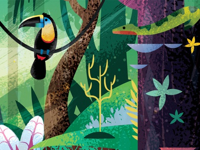 Welcome To The Jungle PT 2 toucan snake meow cat illustration art leopard animation jungle