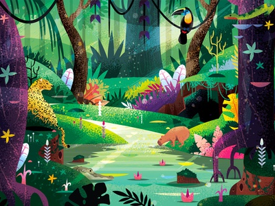 Jungle toucan snake meow cat illustration art leopard animation jungle