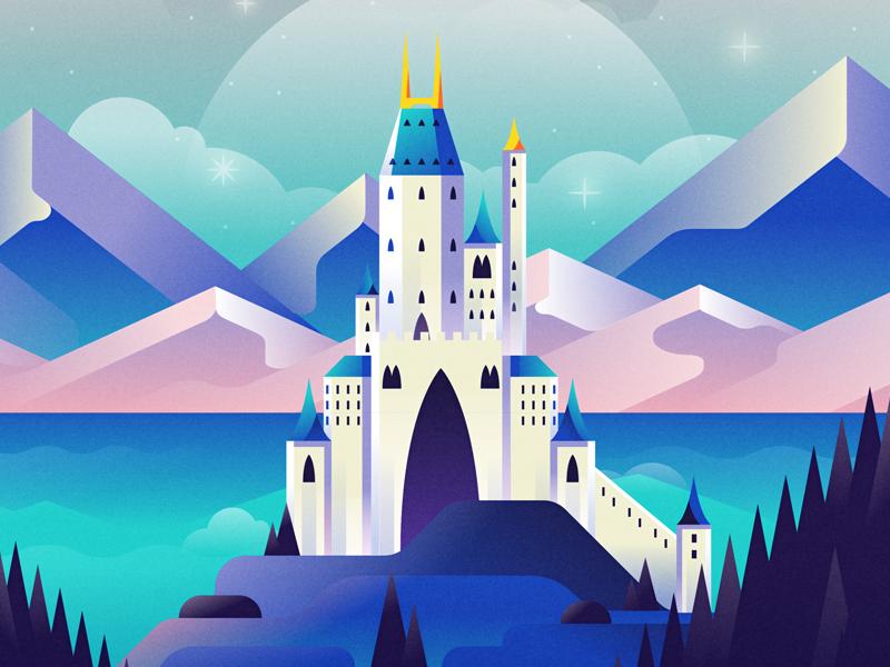 Castle Dream mountain sunset design illustration disney castle