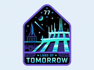 Land Of Tomorrow rocket mountain space badge