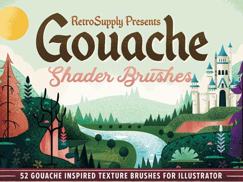 Retro Supply Gouache Shader Brushes retro supply faiytale illustrator brush castle