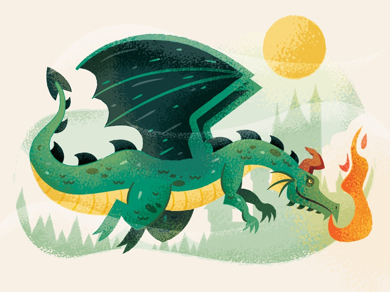Retro Supply Gouache Dragon adobe illustrator illustration castle dragon