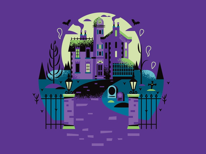 Haunted Mansion blue black illustrator disney illustration